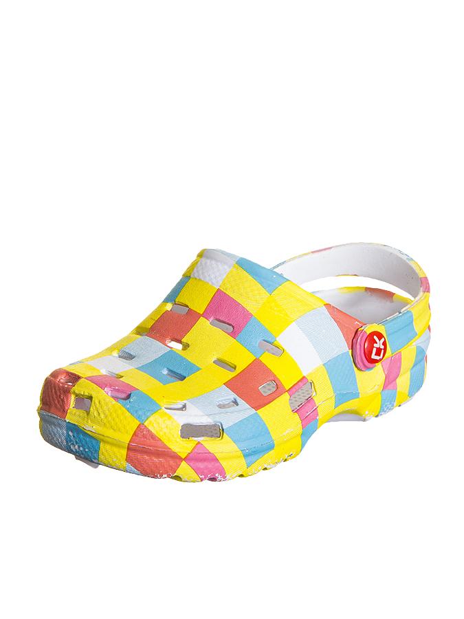 Color Kids Clog in bunt, gelb - Fersenriemen sorgt für ein sicheren Halt - rutschhemmende Laufsohle - angenehm zu tragen Color Kids bunt/gelb Kinderslipper, Slipper für Kinder, Kinderschuhe