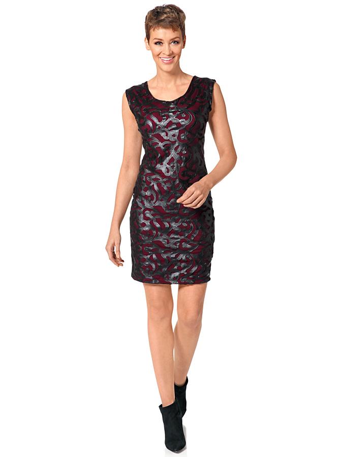 Heine Kleid in Schwarz/ Bordeaux -52% | Größe 40 | Etuikleider