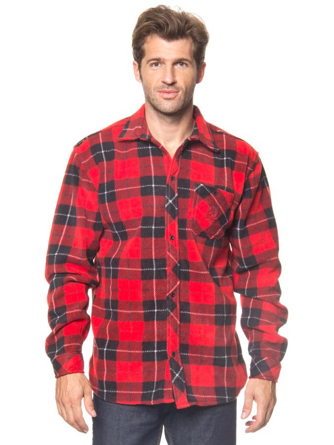 Longboard Fleecehemd in Rot/ Schwarz -68% | Größe S | Hemden