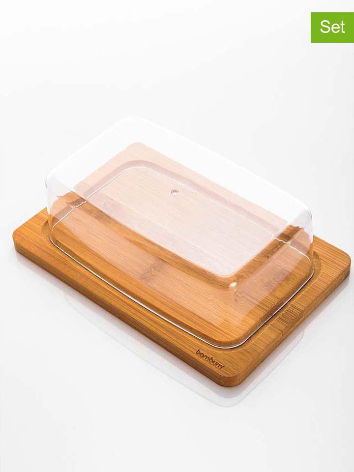 Bambum Käsebrett mit Abdeckhaube in Bambus - (B)19,5 x (H)5 (T)13 cm -52% | Tabletts