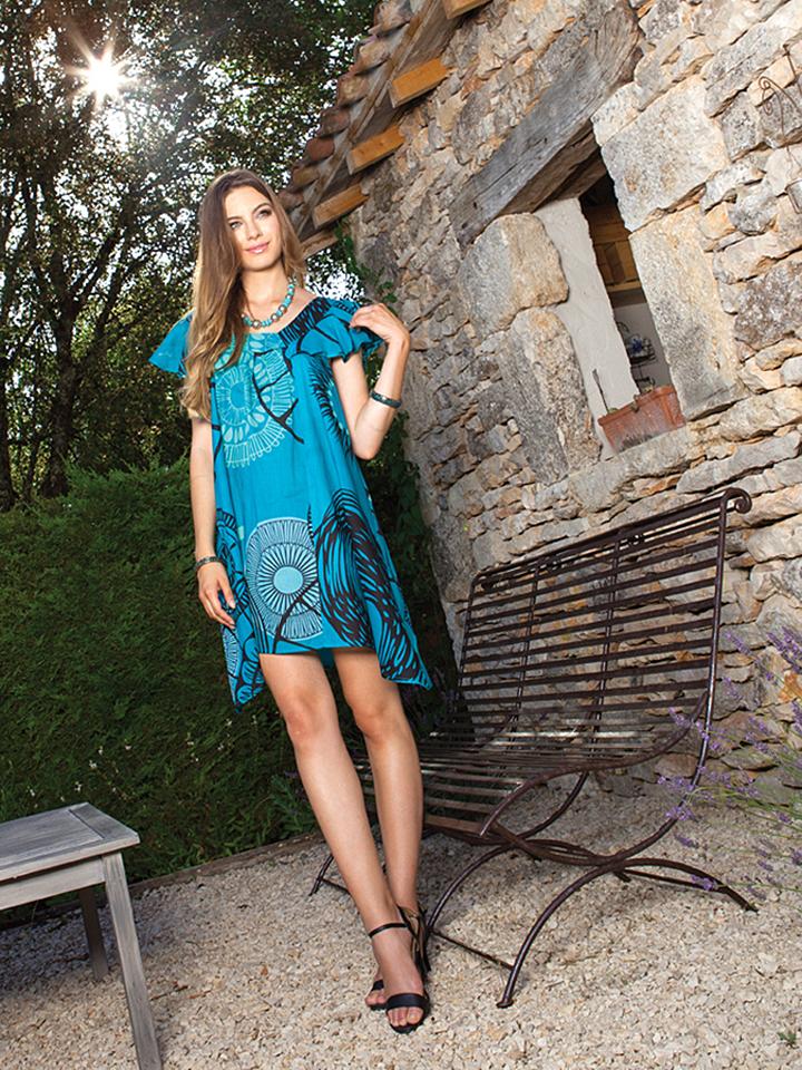 Aller Simplement Kleid in türkis -60%   Größe 40-44 Kurze Kleider Sale Angebote Wiesengrund