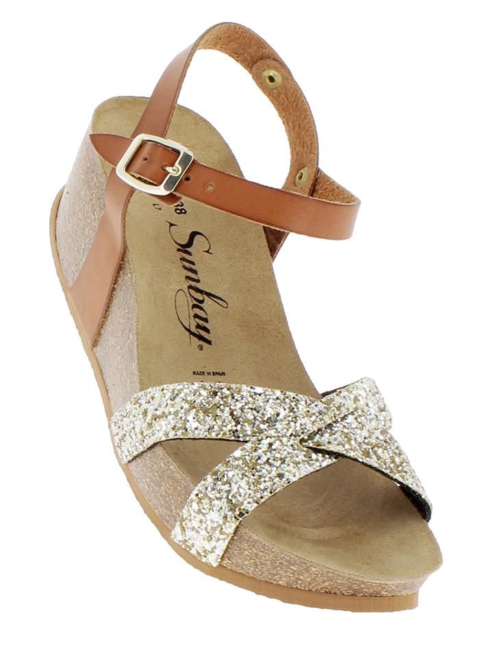 Sunbay Leder-Sandaletten in Camel gold -67 Größe 36 Hohe Sandaletten