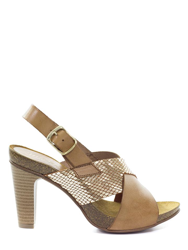 Mia Loé Leder-Sandaletten in Camel - 70 Größe 40 Damen sandalen