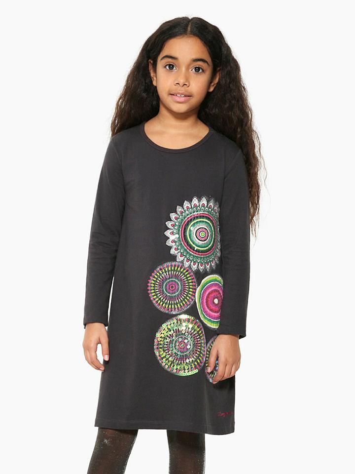 Desigual Kleid in Dunkelgrau - 55% | Größe 98/104 Kinderkleider