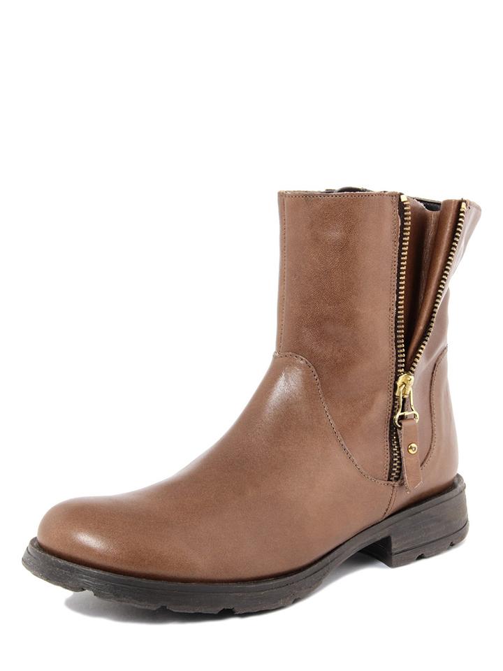 ROBERTO CARRIOLI Leder-Boots in Hellbraun - 71% | Größe 40 Stiefeletten