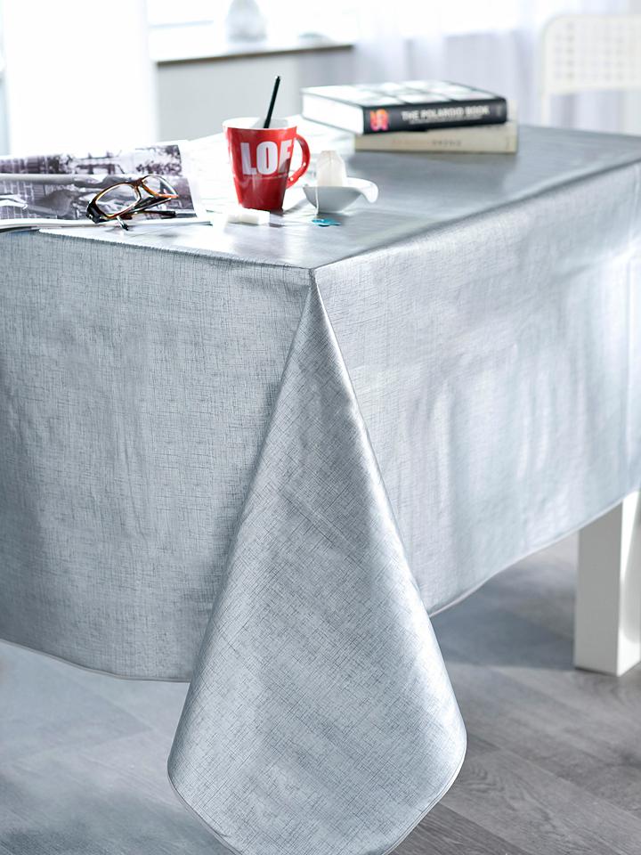 Calitex Wachstuchtischdecke Effet in Silber - 62% | Größe 140 cm | Tischwaesche