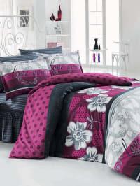 "Evanti Home Collection Renforcé-Bettwäsche-Set ""Punto"" in pink/ grau"