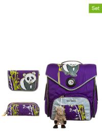 "Tatonka 3tlg. Schulranzen-Set: ""Panda"" in lila"