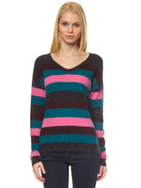 Marc O'Polo Pullover in schwarz/ pink/ petrol