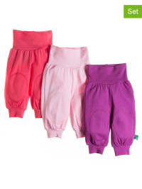 Green Cotton 3er-Set: Stoffhosen in Lila/ Rosa/ Pink