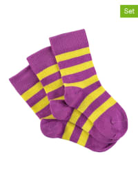 Green Cotton 3er-Set: Socken in Lila/ Gelb