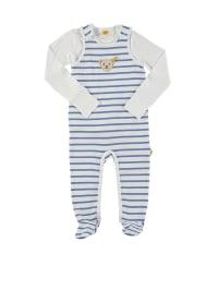 Steiff 2tlg. Outfit in Weiß/ Blau
