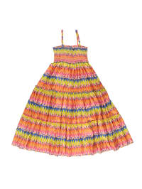 Topo Kleid in Blau/ Orange/ Gelb