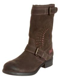 "Desigual Leder-Boots ""Malva"" in Dunkelbraun/ Rosa"