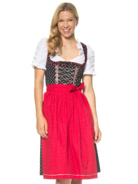 Berwin und Wolff Midi-Dirndl in schwarz/ rot