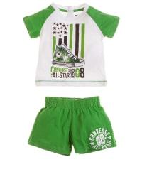 Converse Outfit: Shirt und Shorts in Weiß/ Grün
