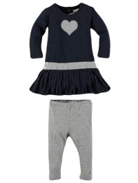 Lofff Outfit: Kleid und Leggings in Dunkelblau/ Grau