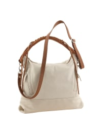 Florence Bags Leder-Schultertasche in Creme - (B)35 x (H)32 x (T)10 cm