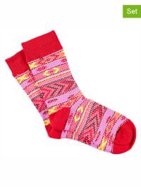 Bonnie Doon 3er-Set: Socken in Rot/ Pink
