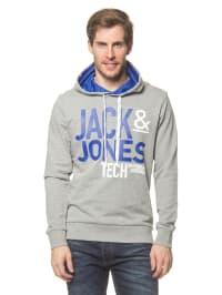 Jack & Jones Kapuzenpullover in Grau/ Blau