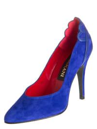 Lazamani Leder-Pumps in blau