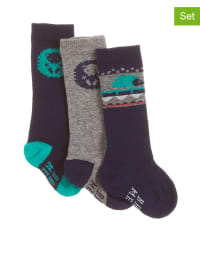 Mexx 3er-Set: Socken in Dunkelblau/ Grau/ Smaragdgrün