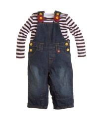 Paglie Outfit: Latzhose und Longsleeve in Blau/ Weiß/ Braun