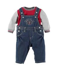 Schnizler Outfit: Pullover und Latzhose in Rot/ Grau/ Dunkelblau