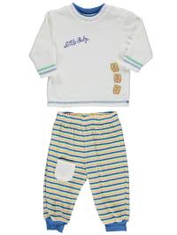Schnizler Outfit: Pullover und Hose in Creme/ Blau/ Bunt