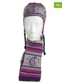 Döll 2tlg. Set: Mütze und Schal in Grau/ Lila