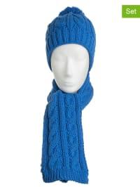 Döll 2tlg. Set: Mütze und Schal in Blau