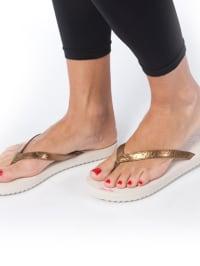 """Flip Flop Flip Flops """"Slim Chic"""" in Bronze/ Weiß"""