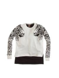 Million X Pullover in Weiß/ Schwarz