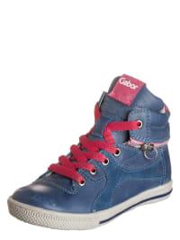 Gabor Leder-Sneakers in Blau/ Pink