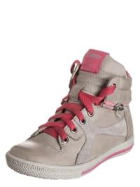 Gabor Leder-Sneakers in Grau/ Pink