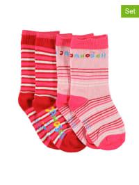 "Jansen Textil 4er-Set: Socken ""Janosch"" in Rosa/ Rot"