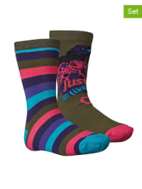 "Legowear 2er-Set: Socken ""Albertine 803"" in Khaki/ Pink/ Lila"