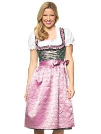 """Turi Landhaus Midi-Dirndl """"Helena"""" in Grün/ Rosa"""