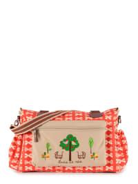 "Pink Lining Wickeltasche ""Twins Bag"" in Rot/ Beige - (B)42 x (H)30 x (T)13 cm"