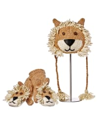 """Knitwits Woll-Handschuhe """"Lincoln The Lion"""" in Beige"""