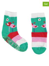 Sterntaler 2er-Set: Stopper-Socken in Grün/ Pink