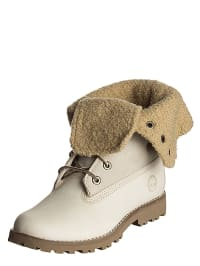 Timberland Leder-Boots in Creme