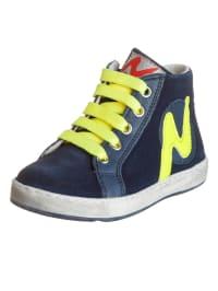 Naturino Leder-Sneakers in Dunkelblau/ Neongelb