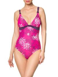 Speedo Badeanzug in Pink/ Lila/ Weiß