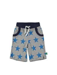 Green Cotton Shorts in Grau/ Blau
