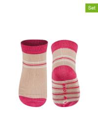 SOXO 2er-Set: Socken in Pink/ Beige