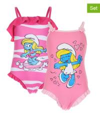 Die Schlümpfe 2er-Set: Badeanzüge in Rosa/ Pink