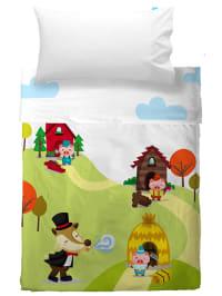 "Mr. Fox Bettlaken-Set ""Little Pigs"" in Grün/ Bunt"