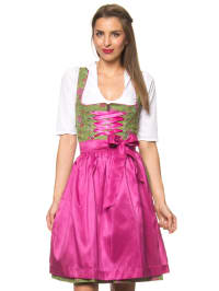 """Turi Landhaus Midi-Dirndl """"Nele"""" in Grün/ Pink"""