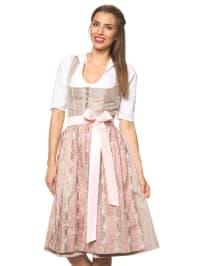 """Turi Landhaus Midi-Dirndl """"Antonia"""" in Taupe/ Rosa"""
